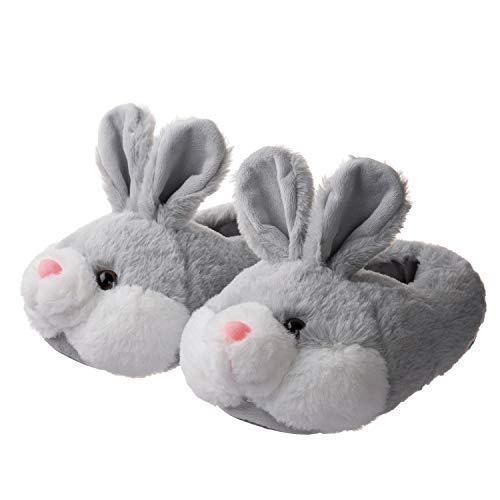 OSVINO Damen Pantoffeln Tiere-Serie Plüsch kuschelig süß TPR Sohle für Schlafzimmer Winter, Grau Hase, EU 36-37 (Tag 6-7)