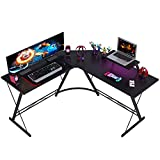 Coleshome L Shaped Desk, 51' Home Office Corner Desk with Shelf, Gaming Computer Desk with Monitor Stand, PC Table Workstation with Shelf, Black