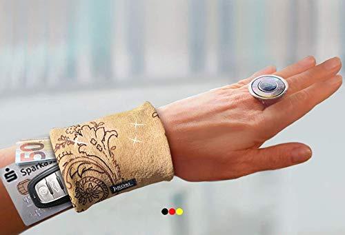 Armbandtasche Leder Look braun Handgelenktasche Armtasche Arm Geldbörse Geldbeutel Stretch Reißverschluss Handgelenk Portemonnaie Lederband Lederarmband Ledertasche Festivaltasche Tanztasche