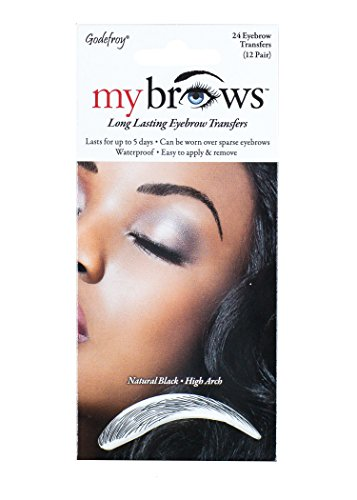 Godefroy MyBrows Long Lasting Eyebrow Transfers, High Arch, Natural Black, 12-Pairs of Brows