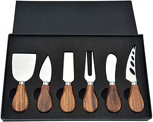 Juego de Cuchillos para Queso,Juego de 6 cuchillos de queso de acero inoxidable con mango de madera,para queso Cuchillos, cortar, rebanar, afeitar, esparcir todo tipo de herramientas
