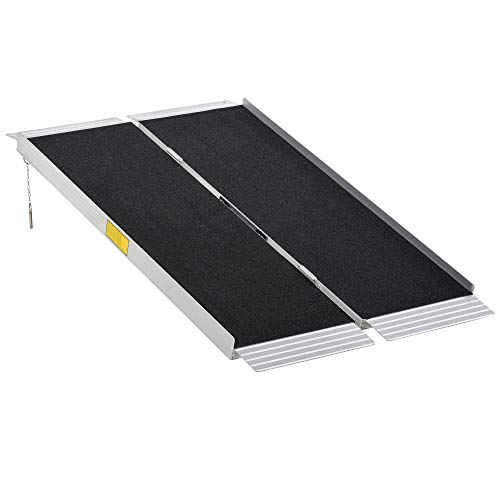 HOMCOM 4' Portable Wheelchair Ramp Aluminum Threshold Mobility Single-fold for Scooter with Carrying Handle