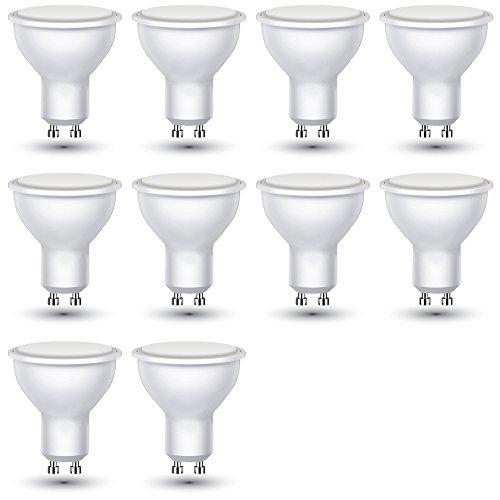 V-TAC Bombilla LED GU10, 3W equivalente a 25W , 25W 210 lúmenes, Color: Blanca Fria 6400K, 110° - 10 unidades