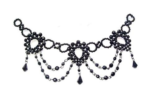 Choker im Mouline Rouge-Stil schwarze Glasperlen
