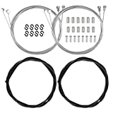 Chala 2pcs Bike Brake Cable Set,Universal Bicycle Brake Wire Tube Front Back Inside Shift Cable with cable ferrules,cable tail cap and S Hook for MTB Mountain Road