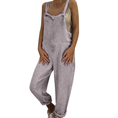 Crazboy Damen Leinen Long Playsuit Latzhose Harem Pants Damen Jumpsuit(Large,Grau)