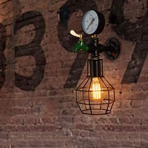 Mur Lampe rétro Nostalgie Lampe escalier créatif en Fer forgé Support lumière Industrielle Vent décoration Bar Bar Lampe de Table Noir