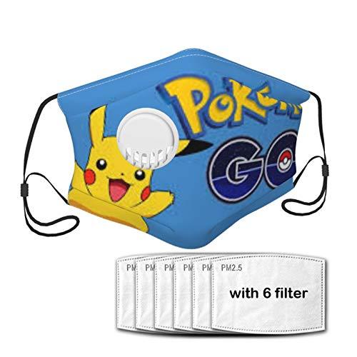 ZVEZVI Pokemon Go Pikachu PikachuKinder im Alter von 7-12 Jahren Gesichtsmaske, Kindermaskenstoff, atmungsaktiv, waschbar, wiederverwendbares quadratisches Handtuch