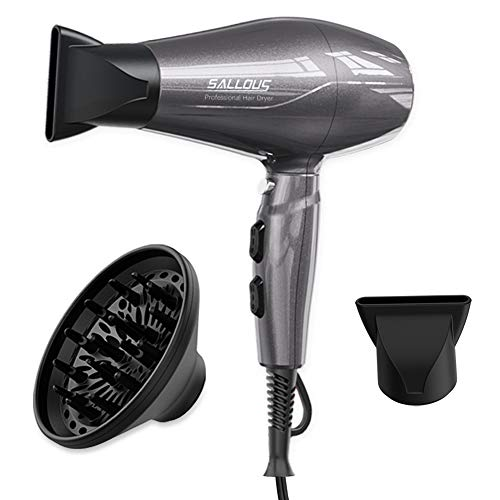 1875W Professional Salon Hair Dryer, AC Motor Styling Tool Blow Dryer, Powerful Negative Ionic Quiet Hairdryer with Diffuser & Concentrator - ETL Certified Hot Tool Dryer for Travel & Home, Gray