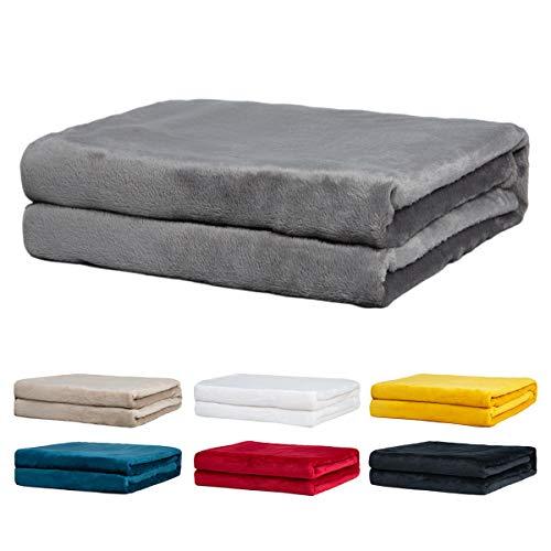 Rendiele Couvertures Polaires- Couvertures Polaires de Flanelle Super Douce - Couvertures de Couleur Unie pour Le lit et Le canapé, 125x150 cm