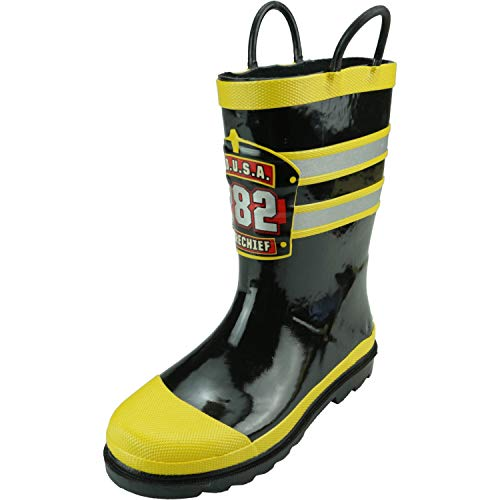 Western Chief Boys Waterproof Printed Rain Boot with Easy Pull On Handles, F.D.U.S.A., 13 M US Little Kid