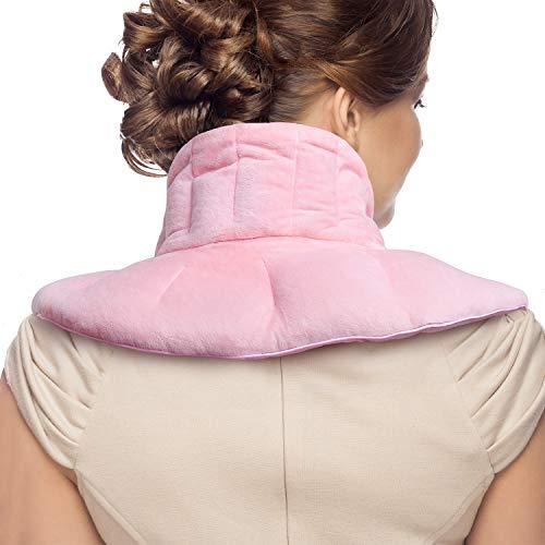 Anjee Nacken-Schmerzkissen, Mikrowellengeeignetes Aufheizbares Nackenkissen zur Schmerzlinderung, Linderung von Migräne, Kopfschmerzen, Stress und Angststörungen, Kräuter-Aromatherapie, Pink