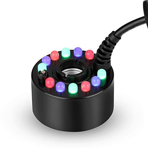 FITNATE - Nebulizzatore a 12 LED, cambia colore, nebulizzatore per fontane, laghetti, Hollywood, con interruttore on/off, dimensioni mini, grande capacità di nebbia