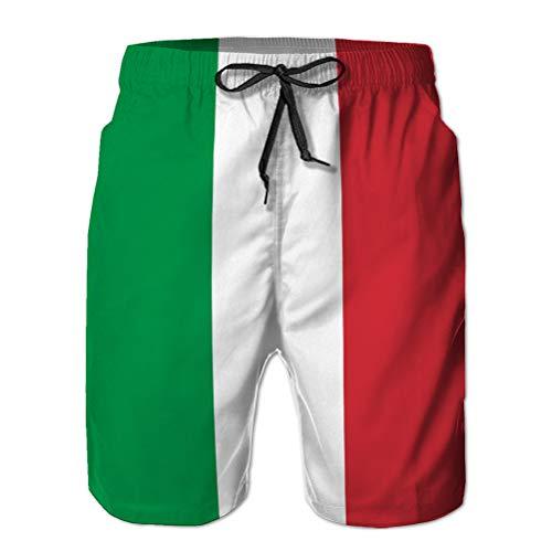 jiilwkie Herren Badehose 3D-Druck Quick Dry Beach Board Shorts italienische Flagge isolieren Webdruck XL