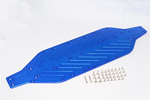 GPM Traxxas XO-01 Supercar Upgrade Pièces Aluminium 4mm Main Chassis with Stainless Steel Screws - 1 Set Blue