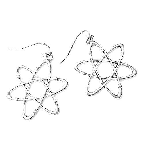 Sabai NYC Silver Tone Nerdtastic Atom Charm Dangle Earrings