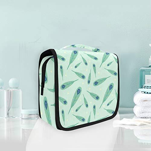 Arte De Plumas De Pavo Real Verde Trousse De Toilette Sac Pliable Suspendu Cosmétique Sac Rangement Maquillage sacs pour Voyage Femmes Filles