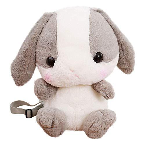 Plush Stuffed Animal Backpack Bunny Backpack With Adjustable Gift For Women Girl (Grey+White)