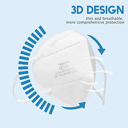 10X FFP2 Atemschutzmaske, Konformität mit EN 149:2001 + A1:2009, Maske mit mehrschichtigem Filtersystem, freier und bequemer Atem - 5