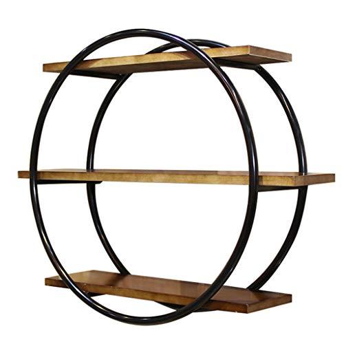 Étagère/supports en métal montés au mur ronds, Cube accrochant de mur de LOFT rétro pour la chambre à coucher comme étagère (Couleur : NOIR)