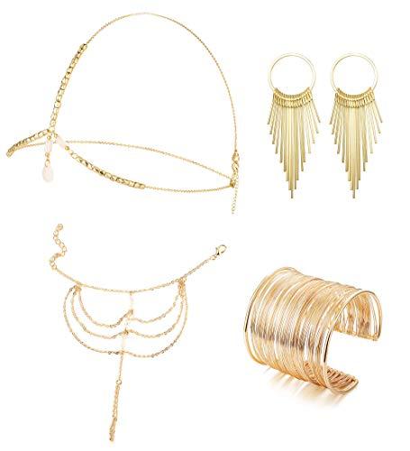 Milacolato 4piezas Boho Headpiece Hand Chain Conjunto de brazalete Dorado para Mujer Pendientes Colgantes de Hojas Cadena de la Cabeza Pulsera de Arnés para Anillo de dedo Set deBisutería de Halloween