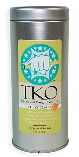 Best Tasting Weight Loss Tea, All Natural Dieter's Tea, Boosts Metabolism, Cleanses Body, Aids Digestion, Great Addition to Any Diet, T.K.O. Knock Out Tea - Peach