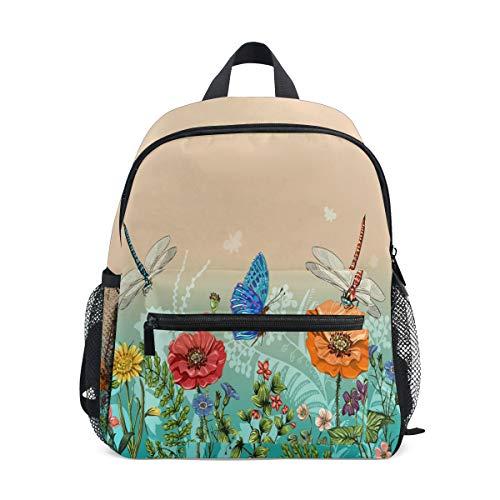 Hunihuni - Zaino per bambini con fiori e farfalle, ideale per la scuola materna