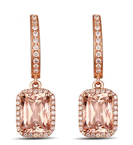 AMDXD 18 Karat Gold Damen Ohrringe Rechteck Glitzer Ohrstecker Rose mit Weiß Braun Diamant Rosa Beryll