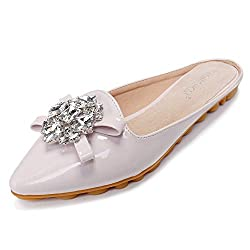 Rhinestone Mules Pointed Toe Slip On Beige Sandal