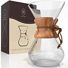 Pour Over Coffee Maker Hand Blown Glass - Classic 6 Cup Hand Drip Brewer - Strong Borosilicate Carafe, Easy Clean and Better Tasting Coffee