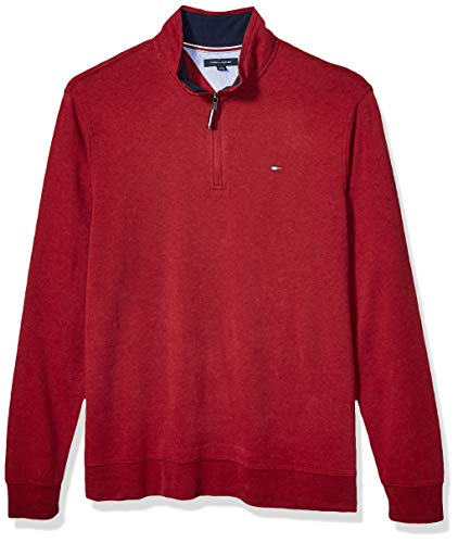 Tommy Hilfiger Men's Size Big and Tall 1/4 Zip Pullover Sweater, Rhododendron Budding, Tall-2XL