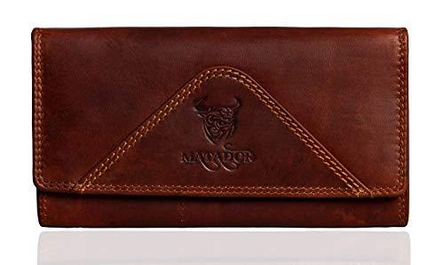 MATADOR Echt Leder Damen Geldbörse RFID & NFC Schutz Portemonnaie Frauen Langformat Vintage Braun inkl Geschenkverpackung
