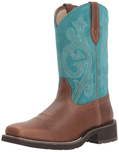 Ariat Women's PRIM ROSE Boot, pebbled brown/turquoise, 5.5 B US
