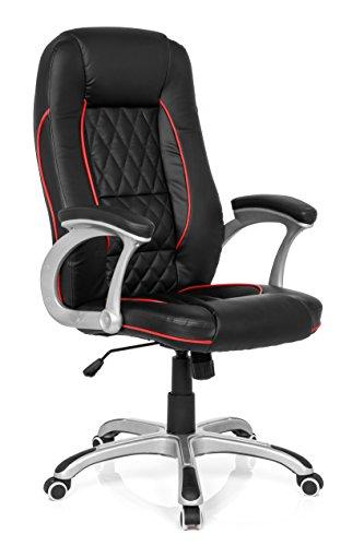 MyBuero - Sedia da ufficio, ergonomica, Relax AB100, nero/rosso