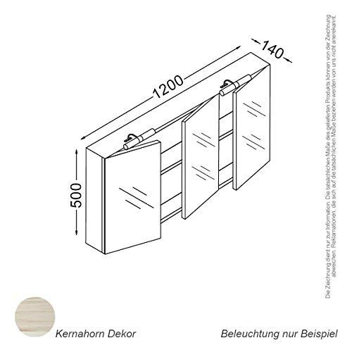 Kzoao Spiegelkast 120 cm Kernahorn