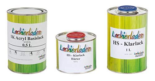 Lackierladen Autolack 2,0 Liter Set HS Klarlack Härter Wunschfarbe spritzfertig Mercedes 748/7748 Kometgrau Effect