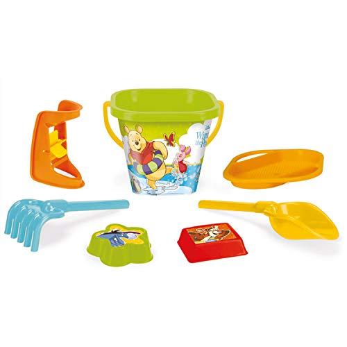 Wader 77142 - Eimergarnitur DISNEY Winnie Pooh mit Eimer, Sieb, Sandmühle, Schaufel, Rechen und 2 Sandformen, 7 teilig, mehrfarbig, ab 12 Monaten, ca. 20 cm, für fantasievolles Spielen