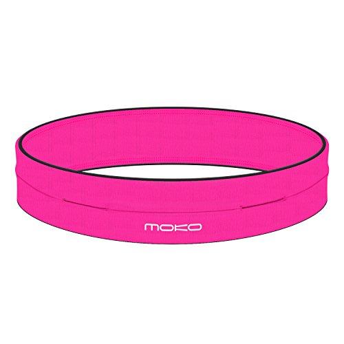 MoKo Riñoneras Belt Universal - Deportivo Cinturón de Correr de 4 Bolsillos para Ejercicios, Fitness, Gimnasio para iPhone 7 / 6S / Galaxy J7 / S9 / S7 Edge/Xiaomi Redmi 5 / Redmi 5 Plus, L,Magenta