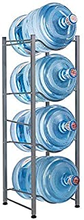 RZChome 4-Tier Water Bottle Holder Cooler Jug Rack, 5 Gallon Water Bottle Storage Rack Detachable Heavy Duty Chrome Water Bottle Cabby Rack Caddy Carrier with Holder