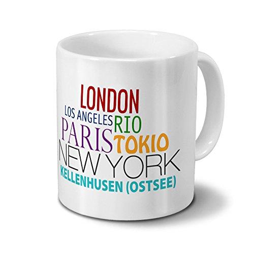 Städtetasse Kellenhusen (Ostsee) - Design Famous Cities of the World - Stadt-Tasse, Kaffeebecher, City-Mug, Becher, Kaffeetasse - Farbe Weiß