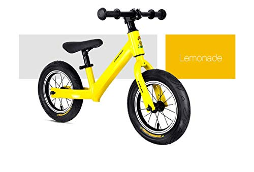 RCIN Kids Balance Bike, No Pedal Toddler Bike 12 Inch for Ages 2-6 Year Old Boys Girls Aluminum Alloy Frame Adjustable Seat Lightweight Kids Bicycle/Best Present, Yellow