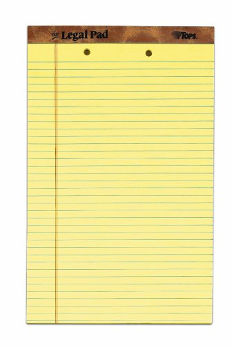 """The Legal Pad Legal Pad, 8-1/2"""" x 14"""", Perforated, 2HP, Canary, Legal/Wide Rule, 50 Sheets per Pad, 12 Pads per Pack"""