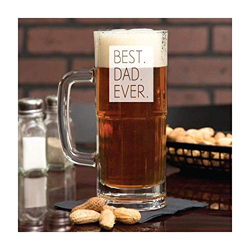 Best Dad Ever Beer Mug with Handle 22 oz Dad Birthday Gifr from Daughter or Bavarian Style Glass 23 oz Father's Day Gift