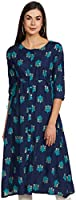 Amazon Brand - Anarva Women's Rayon Gold Floweral Print Flared Long Kurta (Gold, Dark Blue)