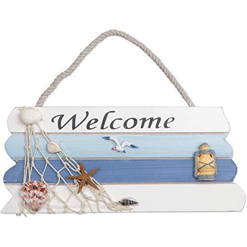 Cartel de Bienvenida Colgante para Puerta, Letrero Welcome Madera Estilo de Playa, Placa de Bienvenida, señal de Bienvenida para Colgar en la Puerta, decoración del hogar(26.5*11.5 cm)