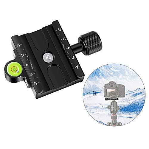 Neewer Metall 60mm Schnellwechselplatte QR Kammer 3/8 Zoll mit 1/4 Zoll Adapter und Wasserwaage Verstellbarer Hebelknopf kompatibel mit Stativkugelkopf