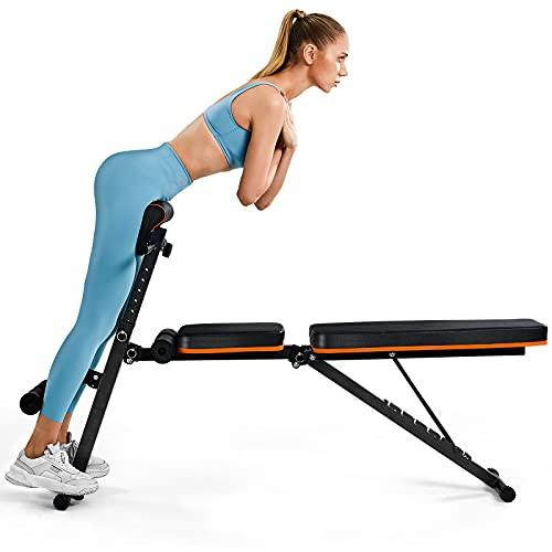 PERLECARE banco de musculacion, duradero banco de gimnasio, peso de hasta 350 kg, de hasta 350 kg, ejercicio plegable con 7 posiciones trasera, 7 alturas, dos banda de ejercicio para gimnasio en casa ⭐