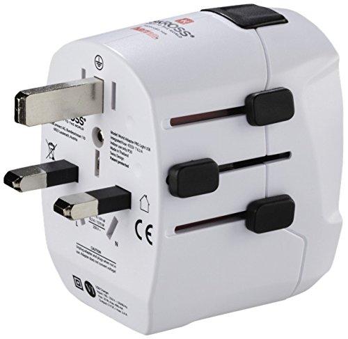 Hama Welt-Reisestecker für über 200 Länder, inkl. 2 USB-Ports (Reiseadapter für US/UK/China für Geräte mit deutschem Stecker; inkl. extra Steckdosenadapter für Geräte aus UK/USA/Brasilien uvm.) weiß