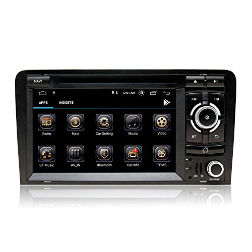 7 Pulgadas Autoradio Android 10 Doble DIN Android GPS Compatible para Audi A3 8P S3 RS3 2003-2012 con Pantalla Táctil HD Navegación GPS Bluetooth Am PM CD DVD WiFi SWC DSP Dab+, 2+32GB