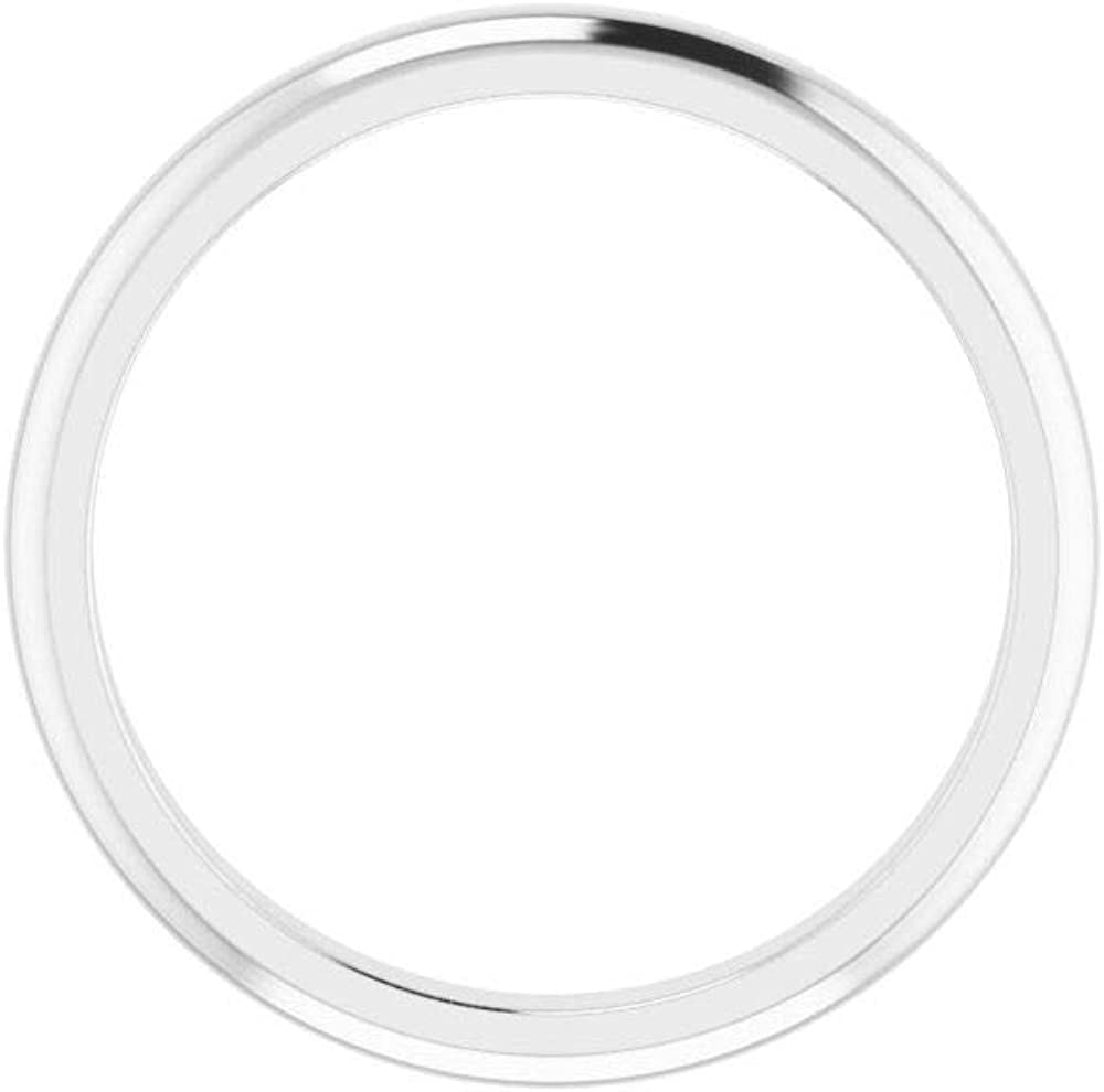 Solid 14K White Gold Curved Notched Wedding Band for 10mm Cushion Ring Guard Enhancer - Size 7